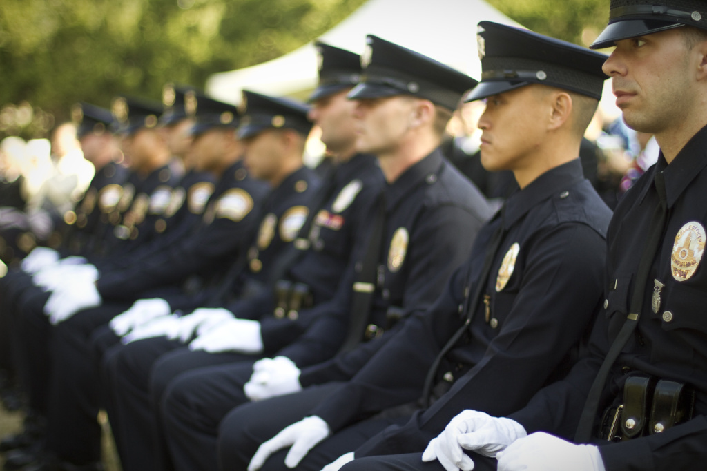 A file photo from former L.A. Mayor Antonio Villaraigosa shows an LAPD graduation. The police union and the city of Los Angeles on Friday announced they had reached a tentative agreement for a new 4-year contract.
