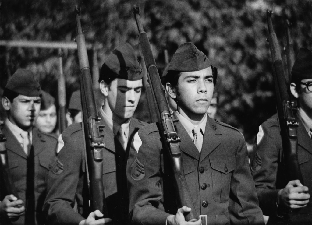 Uniformed Marines in formation. These servicemembers during the Vietnam War were from Morenci, Arizona.