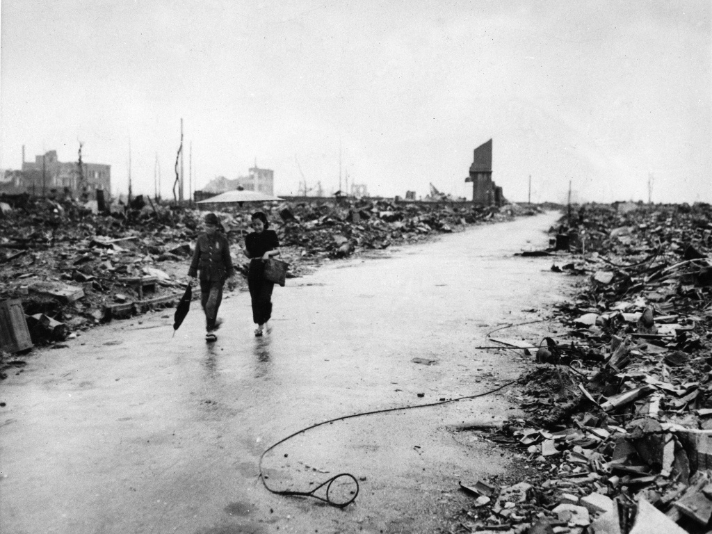 File photo from the site of the Hiroshima bombing in 1945. U.S. strategists wanted to flatten an entire city with a single atomic bomb: Hiroshima was the right size.