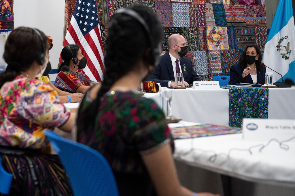 US Vice President Kamala Harris and US Ambassador to Guatemala William Popp participate in a women's intergenerational innovators and entrepreneurs event in Guatemala City on June 7, 2021.