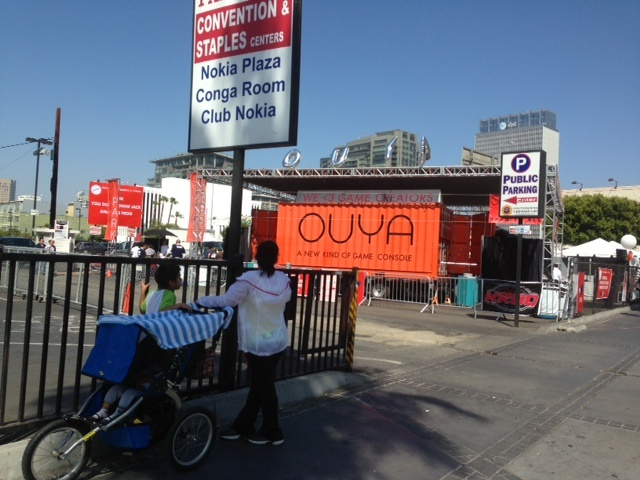 Ouya, a Santa Monica-based start-up, rented out space at a parking lot across the street from E3, which apparently caused some drama with E3's organizers.