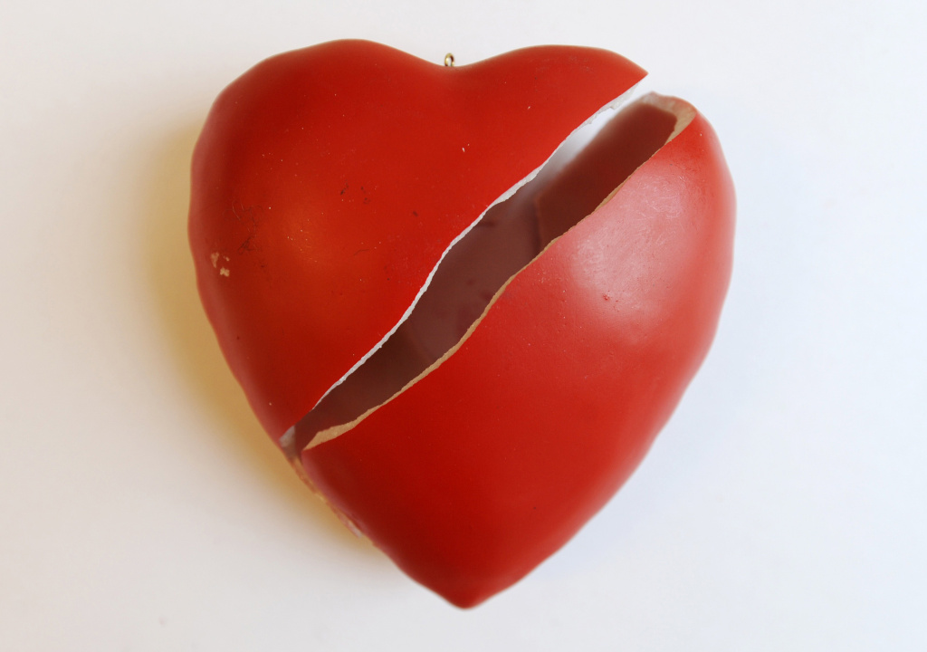A broken ceramic heart pictured in Berlin on January 7, 2010.
