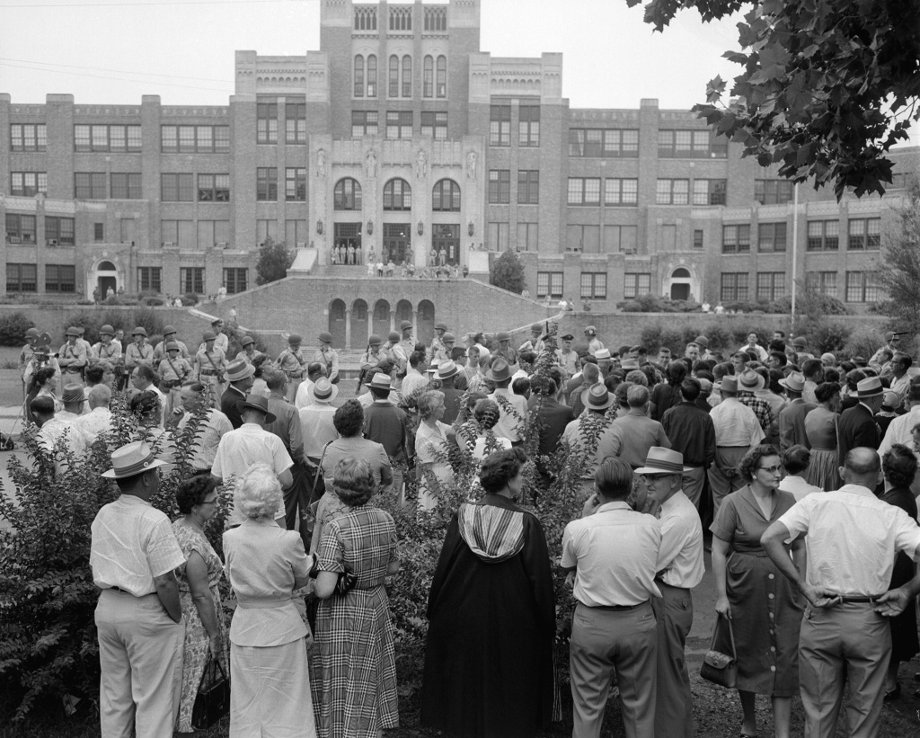Only White students entered Central High School at Little Rock, Ark., on Sept. 5, 1957.   The school is under integration orders from U.S. District Judge Ronald N. Davies.  The day before nine Black students were refused admittance to the school by Arkansas National Guardsmen.   The military men were ordered by Governor Orval Faubus to surround the school and prevent Black students  from entering the grounds.