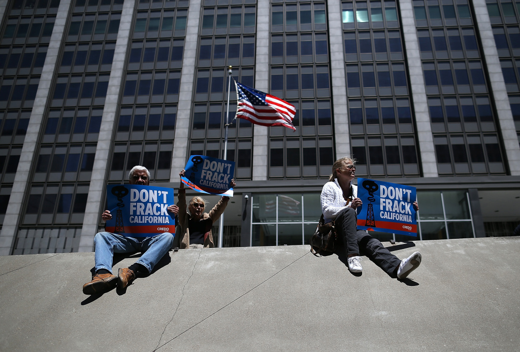 Protestors stage a demonstration against fracking in California outside of the Hiram W. Johnson State Office Building on May 30, 2013 in San Francisco.
