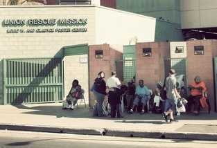 The Union Rescue Mission is a private, Christian homeless shelter in downtown Los Angeles' skid row.