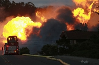 Flames from a massive fire September 9, 2010 in San Bruno, California on the day a gas pipeline exploded.