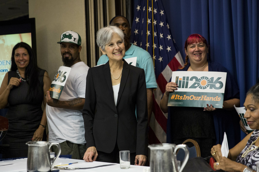 Jill Stein smiles after announcing that she will seek the Green Party's presidential nomination, at the National Press Club, June 23, 2015 in Washington, DC.