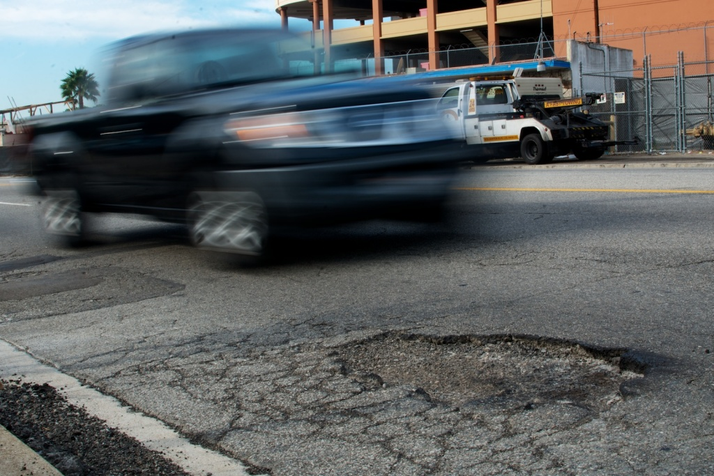 A pothole on Aviation Boulevard near LAX.