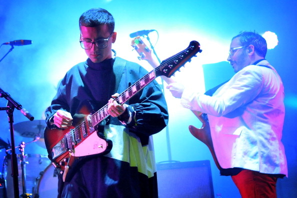 Alexis Taylor and Rob Smoughton of Hot Chip perform live on stage at Brixton Academy on October 18, 2012 in London, United Kingdom.
