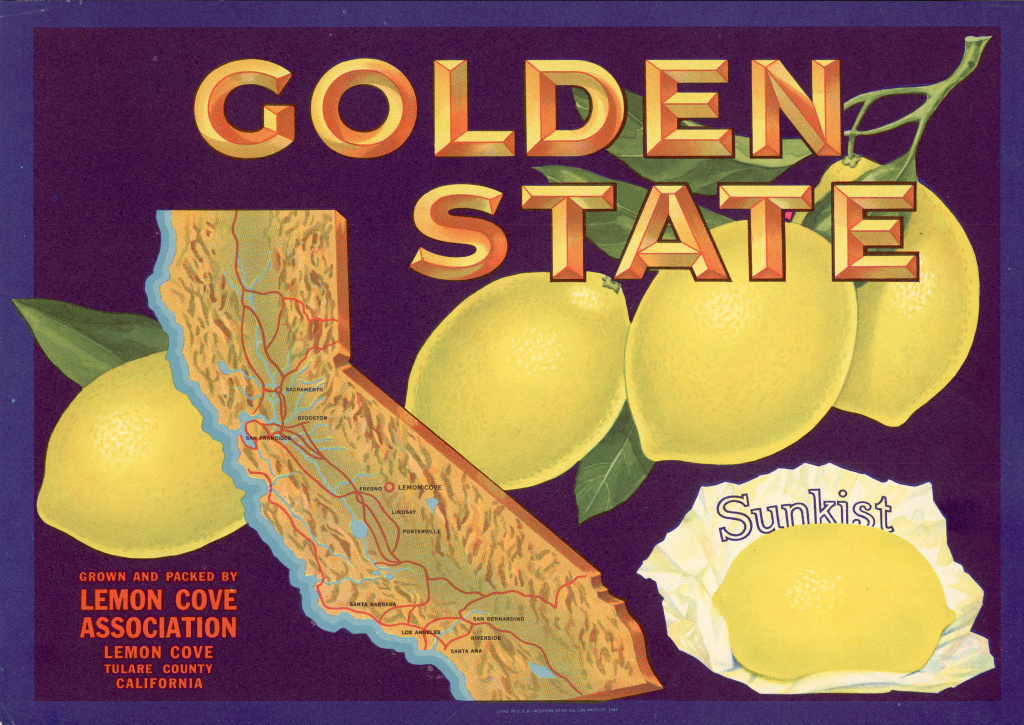 Color lithograph fruit box label for Golden State lemons shows a map of California with a circle around Lemon Cove in Tulare County.