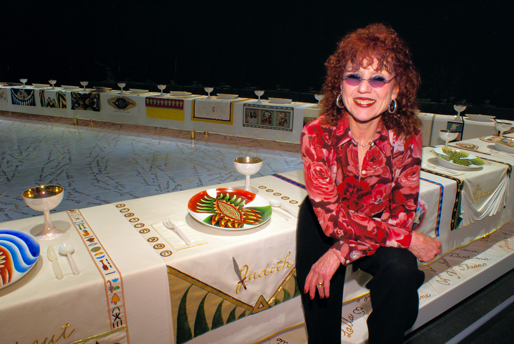 Artist Judy Chicago at the Brooklyn Museum with her famous