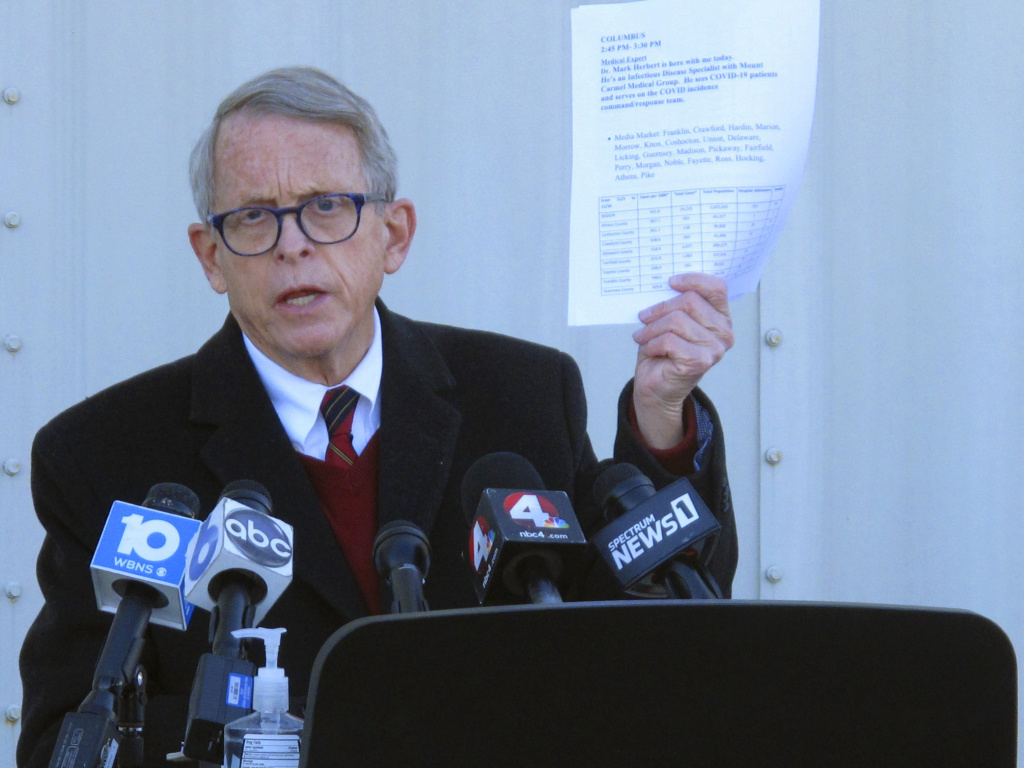 Ohio Gov. Mike DeWine, seen in November, has signed a measure into law that removes a gunowner's need to retreat before using the gun in self-defense.