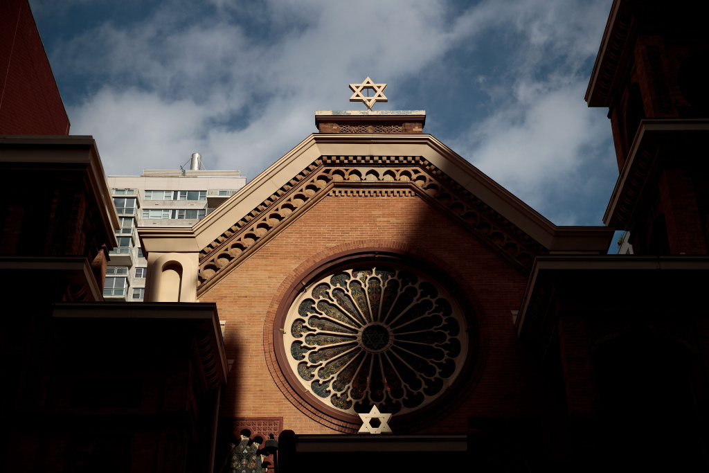 The Star of David stands atop the Park East Synagogue, March 3, 2017 in New York City. Earlier on Friday morning in St. Louis, Federal Bureau of Investigation (FBI) authorities arrested Juan Thompson, who is alleged to have recently made numerous threats against Jewish community centers, Jewish schools, a Jewish museum and the Anti-Defamation League.