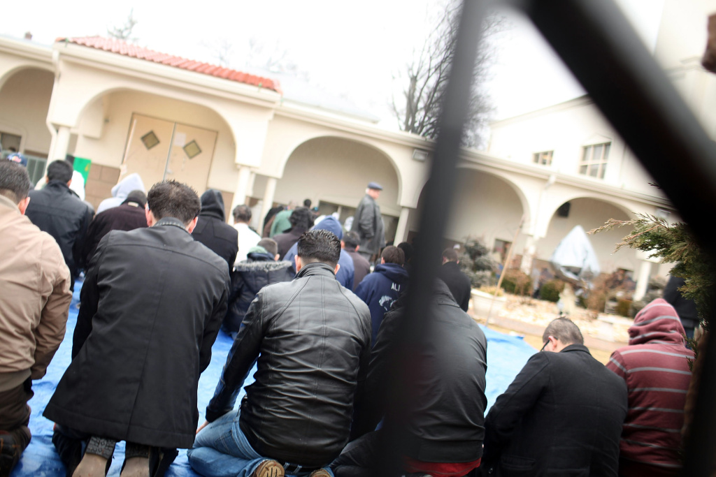 Men participate in Friday Prayer at the Omar Mosque on February 24, 2012 in Paterson, New Jersey. The  New York Police Department (NYPD) has come under renewed criticism following revelations that officers crossed into New Jersey to conduct surveillance on Newark and area muslims, including students at Rutgers University.