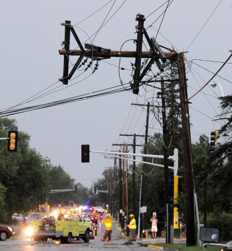 A power pole is bent after severe storms hit the Bemidji, Minn., area on Tuesday, knocking down thousands of trees and causing extensive damage to utility lines, leaving thousands of customers without power in the area.