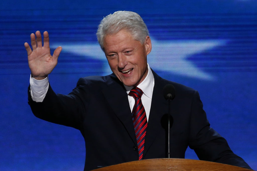 President Bill Clinton gives a speech at last night's Democratic National Convention.