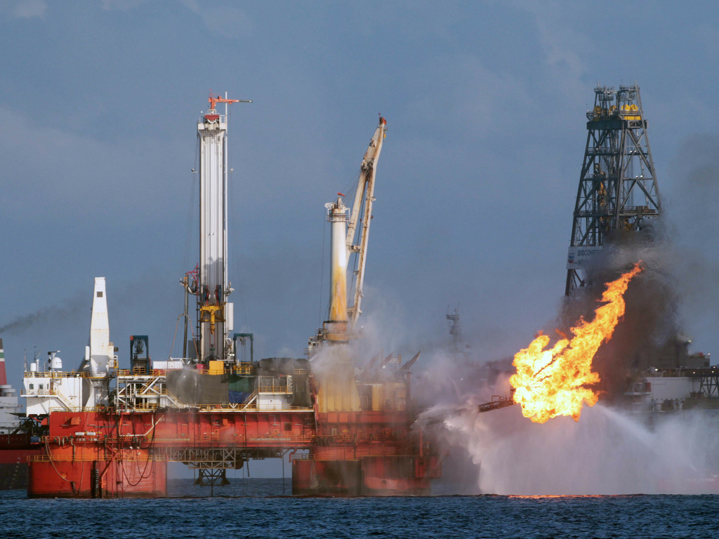 The Deepwater Horizon oil rig is seen here in July 2010, shortly before the Macondo well was capped after spilling oil for 87 days. The Trump administration has proposed revisions to Obama-era rules that aimed to prevent similar disasters.