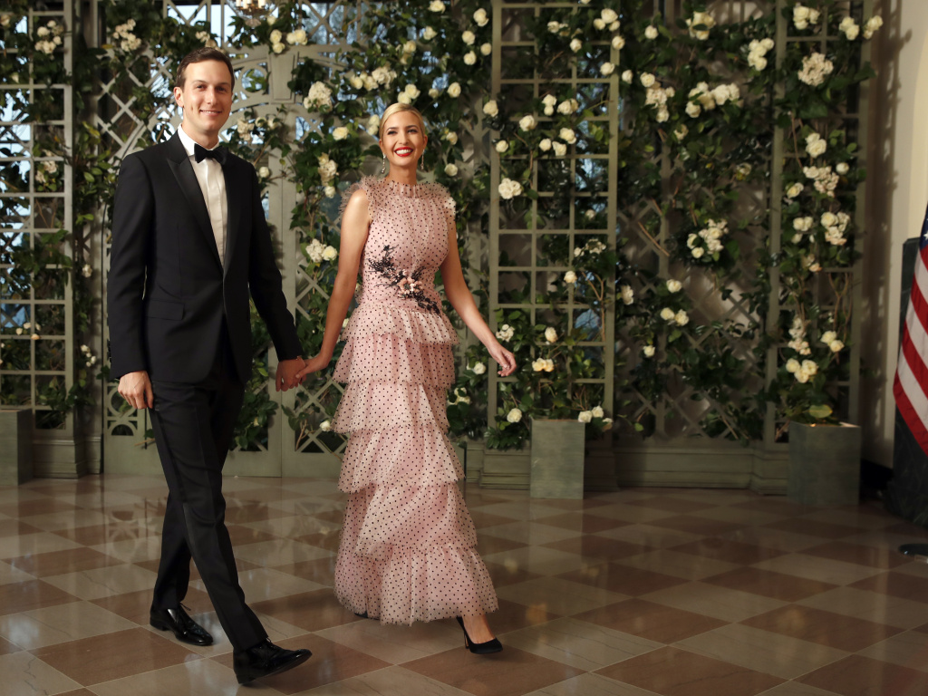 Jared Kushner and Ivanka Trump arrive for a State Dinner with French President Emmanuel Macron and President Donald Trump at the White House in April 2018.