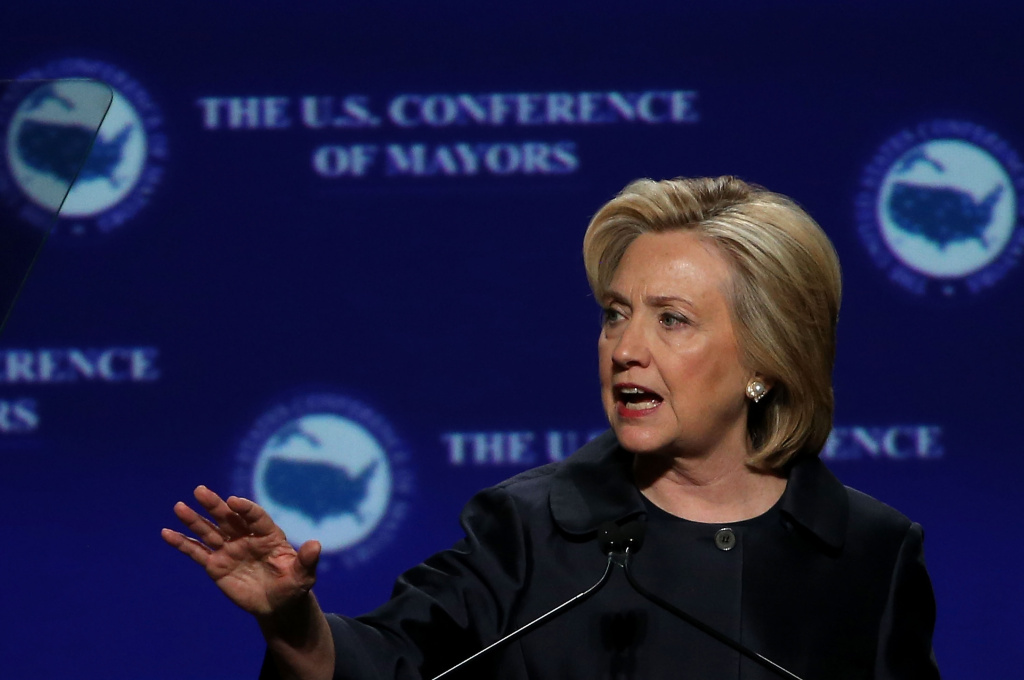 Democratic presidential candidate and former U.S. Secretary of State Hillary Clinton speaks during the 2015 United States Conference of Mayors on May 20, 2015 in San Francisco, California. The Clinton campaign announced Tuesday, Aug. 11, 2015 she would give the Justice Department the personal email server she used while serving as secretary of state.