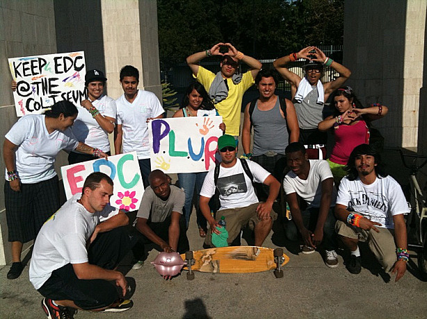 Youthful supporters of raves gathered at the L.A. Coliseum to show their support for rave-type events held at public spaces.