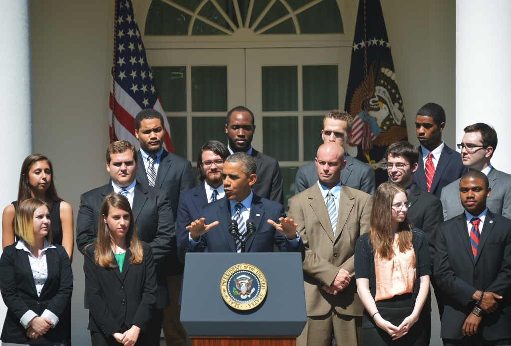 US President Barack Obama speaks on student loans on May 31, 2013 in the Rose Garden of the White House in Washington, DC.