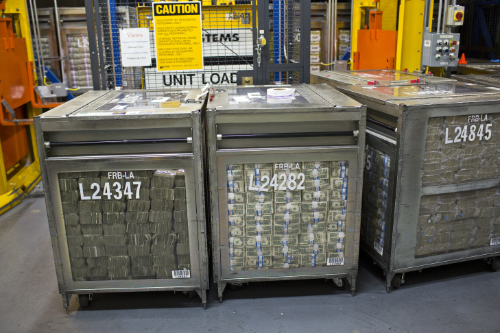 Five thousand tons of U.S. currency are shredded each year by the Federal Reserve. The currency processing facility in Los Angeles is one of more than 20 of its kind in the country.