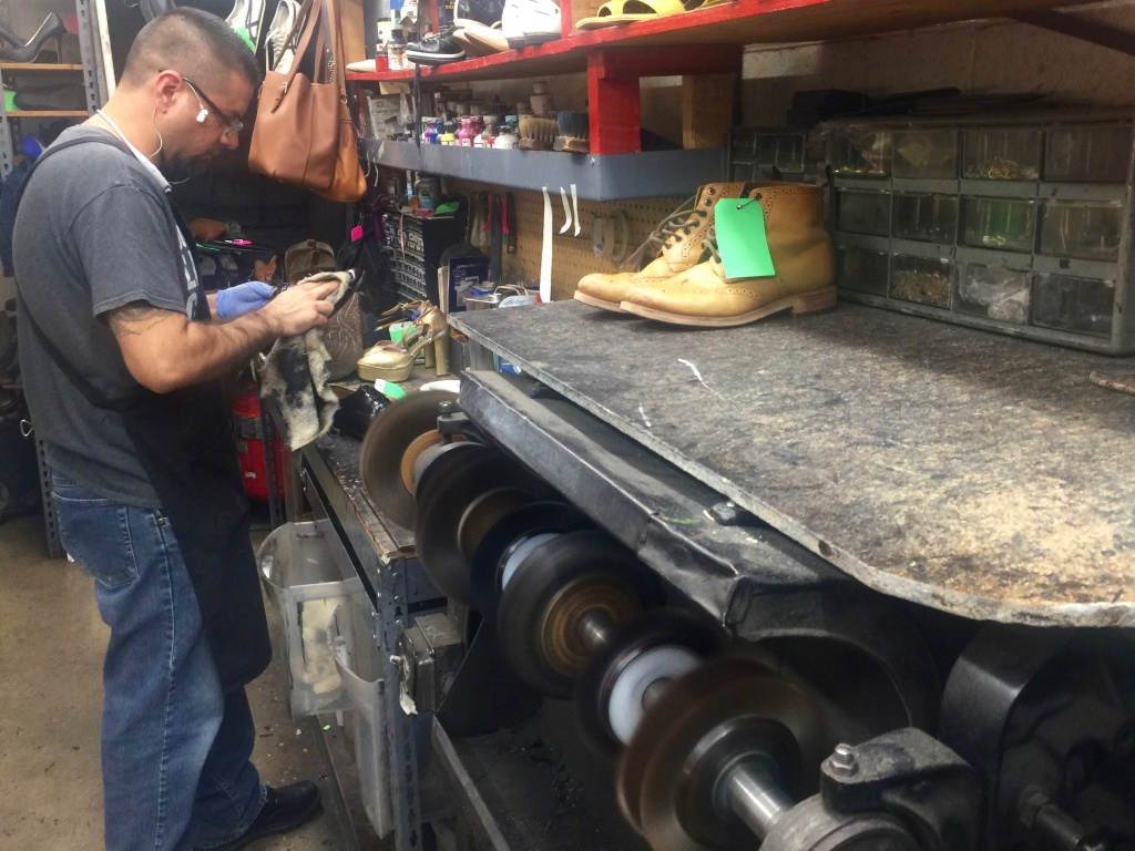 Close to half the work at Victor's Shoe Repair in Burbank comes from Hollywood production, business that would likely vanish if writers go on strike.