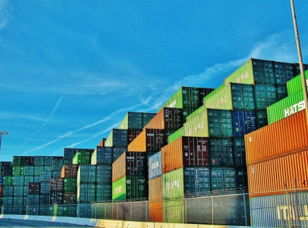 Stacked up port shipping containers