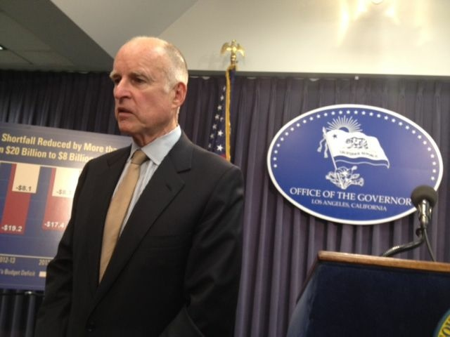 California Gov. Jerry Brown reveals his May budget revise, Monday, May 14, 2012.