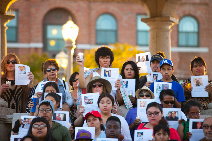 A candlelight vigil in memory of the victims of the Orlando shooting is held at Mariachi Plaza in Boyle Heights, Los Angeles, on Friday, June 17, 2016.