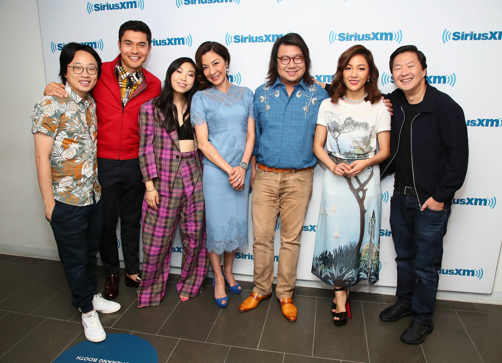 NEW YORK, NY - AUGUST 15:  (L-R)  Jimmy O. Yang, Henry Golding, Awkwafina, Michelle Yeoh, Kevin Kwan,  Constance Wu and Ken Jeong attend SiriusXM's Entertainment Weekly Radio Spotlight With The Cast Of 'Crazy Rich Asians' on August 15, 2018 in New York City.