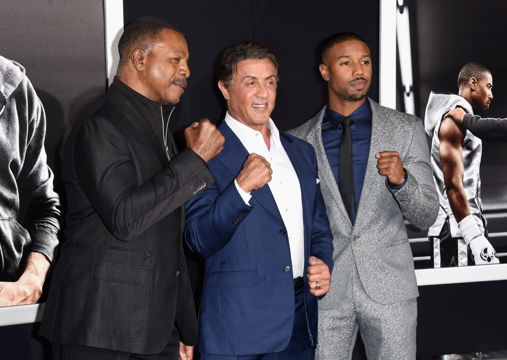(L-R) Director Ryan Coogler, actor/producer Sylvester Stallone and actor Michael B. Jordan attend Warner Bros. Pictures'