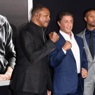 "(L-R) Director Ryan Coogler, actor/producer Sylvester Stallone and actor Michael B. Jordan attend Warner Bros. Pictures' ""Creed"" Premiere at Regency Village Theatre."