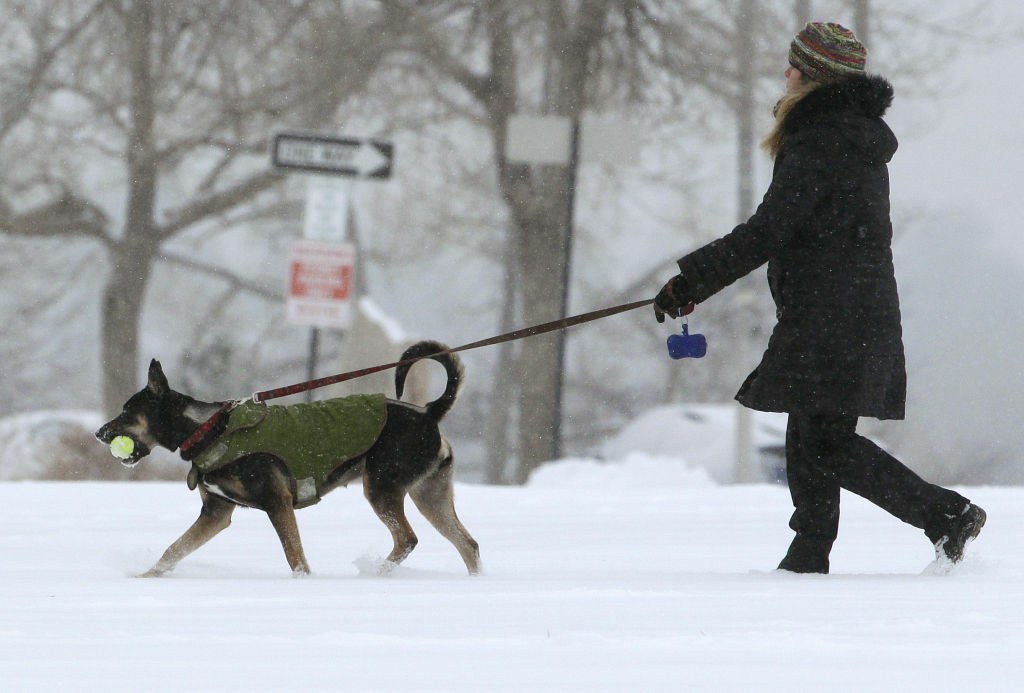 A woman walks her dog as a blizzard dropped snow over Boulder, Colo., Wednesday Dec. 19, 2012. A storm that has dumped more than a foot of snow in the Rocky Mountains is heading east and is forecast to bring the first major winter storm of the season to the central plains and Midwest.