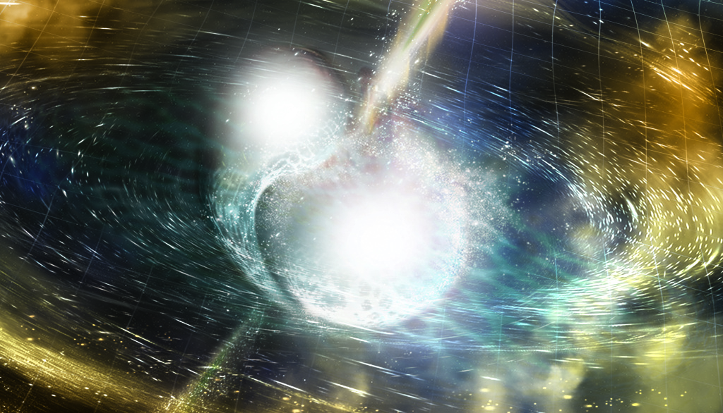 This simulation shows the final stages of the merging of two neutron stars. The merger shown in the simulation is happening much faster in reality, within less than a hundredth of a second, and produces strong gravitational waves. This illustrates one of the possible scenarios for the merger event GW170817, detected by the LIGO-Virgo gravitational-wave network. The result of the merger could have been a neutron star or a black hole, the latter of which is shown here.