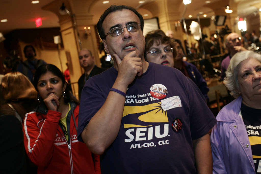 File: David Matanga of Montebello, Calif., an SEIU 1000, state employee union member, center, shows concern while watching returns at an election night gathering opposing Proposition 75 sponsored by the L.A. County Federation of Labor, AFL-CIO at the Biltmore Hotel in downtown Los Angeles, Tuesday, Nov. 8, 2005.