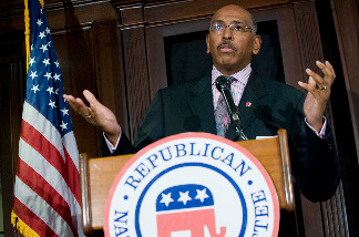 Republican National Committee (RNC) Chairman Michael Steele speaks during a news conference on Republican efforts to stop the Democratic health care legislation at RNC Headquarters on Capitol Hill in Washington, DC, on December 14, 2009.
