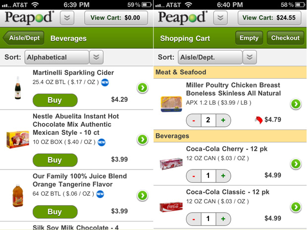 Screenshot of PeaPod grocery app.