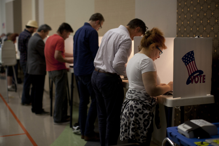 Voters take to the polls at the First Methodist Church in Santa Monica to cast their vote in the 2014 mid-term election.