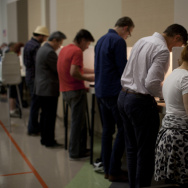 Voters took to the polls at the First Methodist Church in Santa Monica to cast their vote in the 2014 mid-term election.
