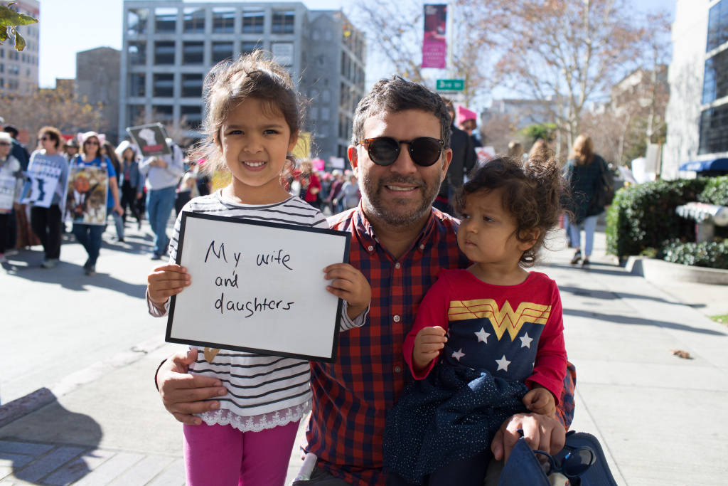 Neel Ketkar, 38, Santa Monica. I chose my wife and daughters because my daughters provide me with a sense of hope for the future, and my wife because she is my rock who guides and leads them every day. January 20, 2018 at Downtown Los Angeles, California. (James Bernal for KPCC)