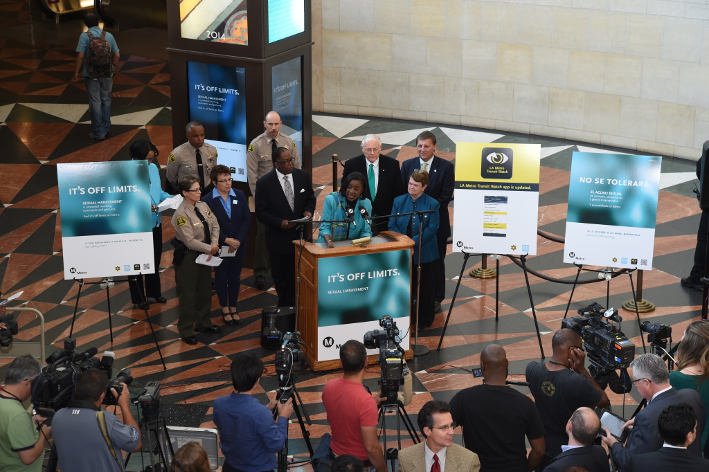 At a media event Thursday, April 16, 2015, at Union Station in downtown Los Angeles, Metro officials unveiled a new anti-sexual harassment campaign. At the podium is Metro Board Member Jacquelyne Dupont-Walker flanked by Metro Board Members Mark Ridley-Thomas, Michael D. Antonovich, Ara Najarian and Sheila Kuehl.