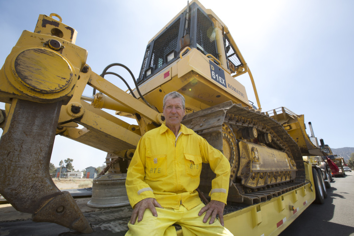 Bulldozer driver Wison Pate in Wrightwood, California on August 18th, 2016.