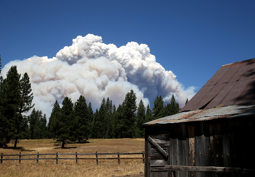 Smoke from the Rim Fire is visible near the Hetch Hetchy reservoir on August 22, 2013.