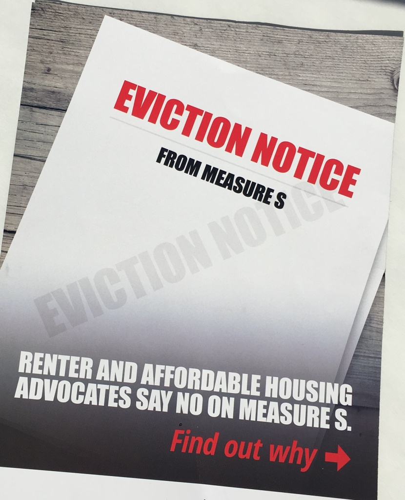 "An ""eviction notice"" mailer from the anti-Measure S campaign."