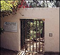 A beach access gate in Malibu.