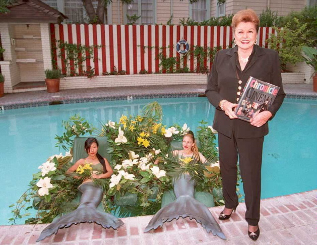 Former movie star Esther Williams poses for photog