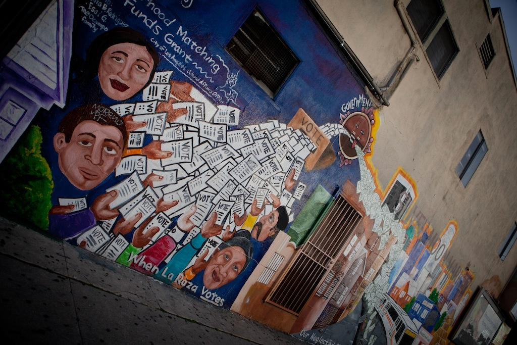 FILE: A mural off 4th Street in western Boyle Heights implores residents to vote. Civic engagement is one of the areas that will be the focus of a major grant commitment by the California Community Foundation.