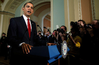 U.S. President Barack Obama makes a statement to the news media after meeting with Republicans in the House of Representatives at the U.S. Capitol January 27, 2009 in Washington, DC.