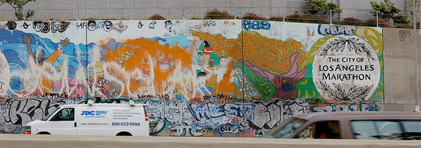 Los Angeles Marathon freeway mural, which can be seen near downtown L.A. near the L.A. Convention Center. (Taken May 9, 2006.)